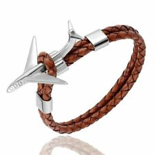 Airplane Anchor Bracelet Retro Leather Rope Stainless Steel Aviation Bracelets