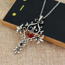 Gothic Vampire Diaries Sacred Heart Memorial Cross Pendant Necklace Jewelry BT83