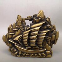 Chinese Old copper Fortune lucky mountain ferry Home decoration