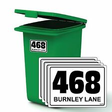 PACK OF 4 WHEELIE BIN NUMBERS ROAD STREET NAME AND NUMBER STICKERS A6