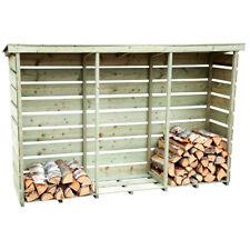 Charles Bentley Nordic Spruce Wooden 3 Log Store Firewood Storage Heavy Duty