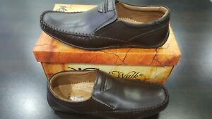 Mens Brown Colour Leather Slip On Shoes Casual Formal Work Office School (A-D-1)