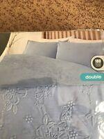 Sainsburys Floral Embroidery Sky Blue Double 180 thread Duvet Pillow Case Set