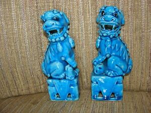 Asian Antiques Porcelain Figurines Foo Dogs pair Turquoise 1900-1940 China EUC