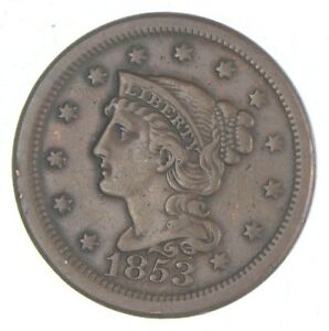 1853 Braided Hair Large Cent - Charles Coin Collection *554