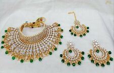 Indian Ethnic Kundan Choker Green Necklace Earring Bridal Set Bollywood Jewelry