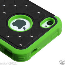 iPhone 4/4S Hybrid Spot Diamond Hard Case Skin Cover Black Green