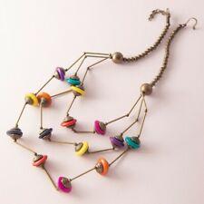 Vintage Colorful Ethnic Layered Statement Bib Necklace Antique Bronze Bohemian
