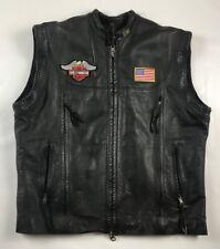 Harley Davidson Black Leather Biker Motorcycle Vest Men's XL Winged Willie G
