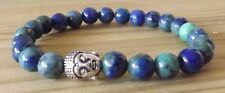 Azurite 8mm Gemstone Buddha Beaded Bracelet Stacking Mala Healing Bracelet