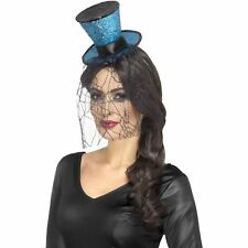 Blue Mini Gothic Top Hat Headband Veil Adults Ladies Womens Fancy Dress Costume
