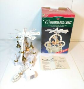 Vintage NOMA Christmas Bell Chimes Rotating Angels Strike Bells w/ Box & Manual