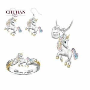Unicorn Jewelry Set For Girls Kids Necklace Earrings Ring Hook Horse Fashion
