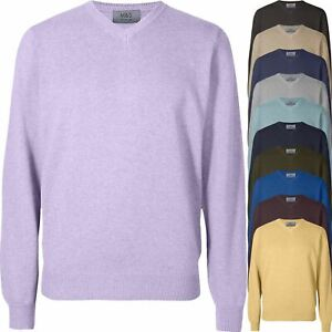 New Ex-M&S Mens V Neck Jumper Long Sleeve Knitted Sweater Plain Work Pullover