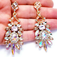 Chandelier Earrings Rhinestone Pink Crystal 2.8 inch