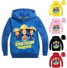 Fireman Sam Boys Girls Hooded Tops T-shirt Kids Hoodie Cartoon Clothes Age 2-10Y