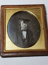 Late 1840s Cute Young Boy In Engineers Hat Daguerreotype Sixth Plate Antique