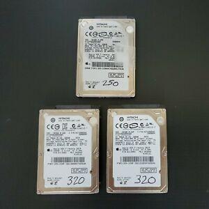 LOT (3) Total Hitachi HDD (2) 320GB (1) 250GB 5K500.B-320 B-250 APPLE OEM Auth