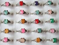 20pcs Mixed wholesale jewelry lots cat-eye silver plated rings jewelry Charms