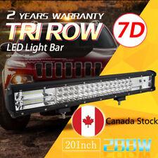 7D Tri-Row 20'' 288W Combo LED Work Light Bar Spot Flood for Jeep Truck Boat CA