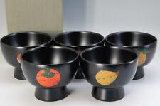 Japan WAJIMA-NURI URUSHI Soup Bowl Set 5pc Different Design w/box F/S 646f10