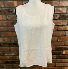 NWT Eileen Fisher Petite Large PL White Basket Crepe Scoopneck Tank Top $118