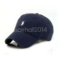 Unisex Small Pony Classic Cotton Baseball Cap Outdoor Sports Polo Hats Navy Blue