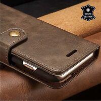 For Apple iPhone 8 7 6 6s Plus Genuine Leather Folio Flip Wallet Slim Case Cover