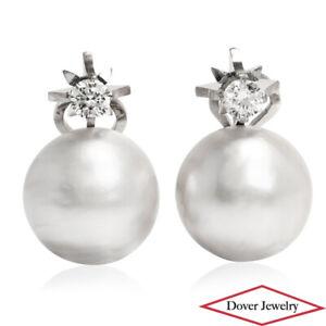 Estate Mabe Pearl White Stone 18K Gold Elegant Earrings 19.9 Grams NR