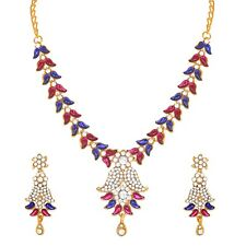 Gold Plated Wedding Party Jewelry Set Multi Color Indian Bollywood Fashion Style
