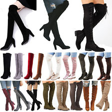 Women Over The Knee Thigh High Boots Stretch Ladies Lounge Block Heel Shoes Size