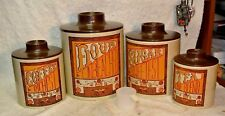 Vintage 70`s Ransburg Americana Kitchenware 8 Piece tin Nesting Canister Set USA