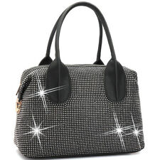 New Women Handbag Faux Leather Satchel Tote Shoulder Bag Purse Rhinestone Studs