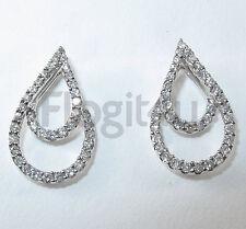 18ct White Gold Diamond Teardrop Stud Earrings £800 NEW