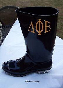 GREEK  OR ENGLISH LETTER Monogrammed Black Rubber Rain Boot