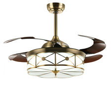 Ceiling Fans with Retractable Blades and Remote Dimmable LED Fan Bronze 36""