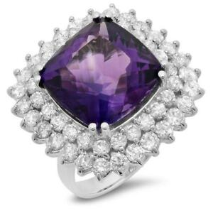 Certified  12.50cttw Amethyst 2.90cttw Diamond 14KT White Gold Ring