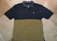 Ecko Unltd. Short Sleeve Golf Polo Shirt Cotton Blend Striped Gray Yellow XL