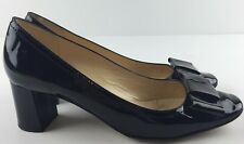 Kate Spade New York Italy  Sz 10 Dijon Black Patent Leather Bow Pumps Block Heel