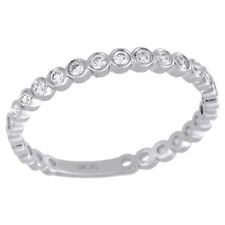 Circle Stackable Right Hand Ring 1/5 Ct. 10K White Gold Bezel Set Round Diamond
