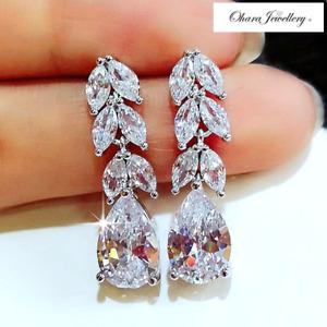 18K White Gold Flower Oval Drop Bling Silver Wedding CZ Stud Earrings Jewellery