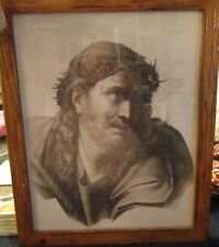 PICTURE OF JESUS WITH A CROWN OF THORNS AT THE CRUCIFIXION NEW GLASS NICE FRAME