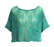 KIRRA WOMENS SHEER LACE BOXY CROPPED RELAXED FIT TOP SHIRT TEE STRETCH BLOUSE XS