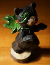SUPERBEAR Black Bear Log Cabin Lodge Home Decor Faux Wood Carved Figurine NEW