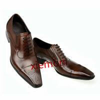 Mens Breathable Leather Pointed Toe Dress Formal Lace Up Wedding Shoes Black&Tan