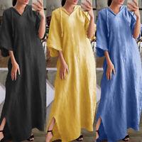 ZANZEA Women Oversize Hoodies V Neck Half Sleeve Cotton Casual Ladies Maxi Dress