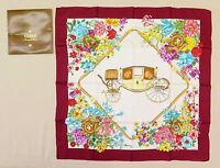 "100% Authentic GUCCI 100% Silk Scarf Flowers Pattern Burgundy Italy 33.5""×33.9"""