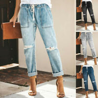 Women Denim Jeans Baggy Pull-on Distressed Elastic Waist Stretch Pants Trousers