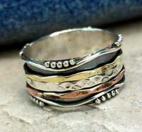 Solid 925 Sterling Silver Spinner Ring Meditation Handmade Woman Gift Ring MS234