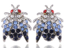 Silver Tone Insect House Fly Beetle Creature Crystal Rhinestone Element Earrings